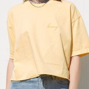 "Brandy Melville Yellow ""Honey"" Shirt"